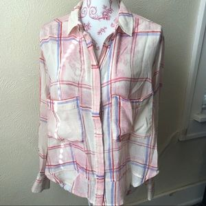 Anthropologie Holding Horses Plaid Blouse S White